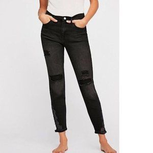 Free People Ripped High Waist Crop Skinny Jeans